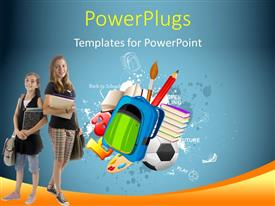 PowerPoint template displaying kids with school bags dressed for school with learning aids