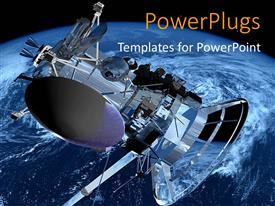 PowerPlugs: PowerPoint template with a space shuttle with Earth in the background