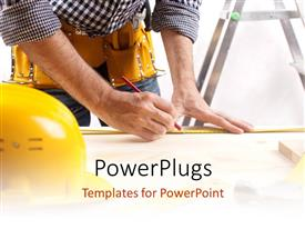 PowerPlugs: PowerPoint template with kitted architect drawing a house Plan with protective helmet on drawing table