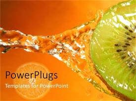 PowerPlugs: PowerPoint template with kiwi with water splash and orange slice