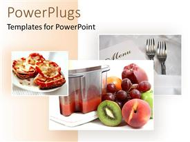 PowerPoint template displaying kiwis, apples, grapes and fruit juice, pair of forks and food