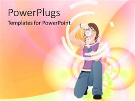 PowerPlugs: PowerPoint template with kneeling girl with camera in front of pastel pink, yellow, orange abstract background