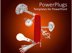 PowerPlugs: PowerPoint template with knife with brain and stopwatch, ear and dollar sign, light bulb and hand