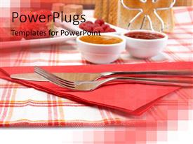 PowerPlugs: PowerPoint template with the knife and fork placed in front with background consisting of dining table