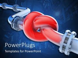 PowerPlugs: PowerPoint template with a knot in the middle of a 3D pipeline