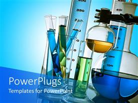 PowerPlugs: PowerPoint template with lab test tubes and flasks containing different colored liquids on light blue background
