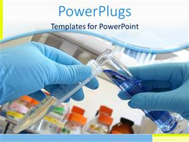 PowerPlugs: PowerPoint template with laboratory background with person in blue gloves mixing chemicals from two testtubes