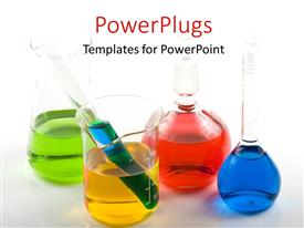 PowerPoint template displaying laboratory flasks with colorful solution samples over white surface