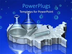 PowerPlugs: PowerPoint template with laboratory glass beakers and flasks on silver map over blue background