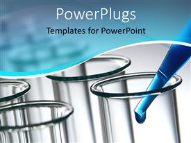 PowerPlugs: PowerPoint template with laboratory test tubes and pipette filled with blue solution with drop of liquid coming out of it
