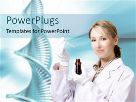 PowerPlugs: PowerPoint template with laboratory worker holding bottle and pipette, DNA double helix, genetic testing