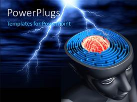 PowerPlugs: PowerPoint template with labyrinth inside the head represents the difficulty to reach the success with lightninge