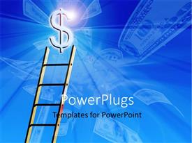 PowerPlugs: PowerPoint template with a ladder with a dollar sign and bluish background