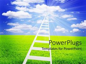 PowerPlugs: PowerPoint template with a ladder going in the clouds with greenery in the background