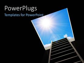PowerPlugs: PowerPoint template with ladder inside pit leading to bright light in blue sky depicting freedom