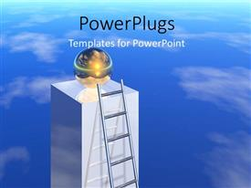 PowerPlugs: PowerPoint template with ladder leaning against silver pillar with glowing globe on top