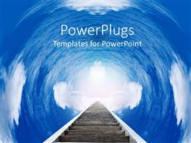 PowerPlugs: PowerPoint template with ladder with rungs in a cloudy tunnel to the sky