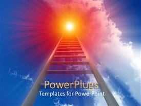 PowerPoint template displaying ladder stretching to orange sun, blue sky