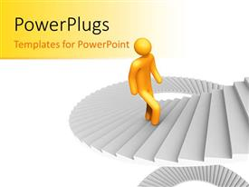 PowerPlugs: PowerPoint template with yellow 3D man climbs spiral stairs on white background