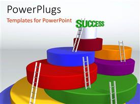 PowerPlugs: PowerPoint template with ladder to success with white color