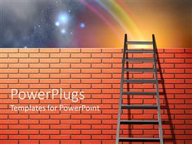 PowerPoint template displaying a ladder on the wall with galaxies in the background