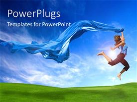 PowerPlugs: PowerPoint template with lady in acrobatic jump holding blue scarf with green field