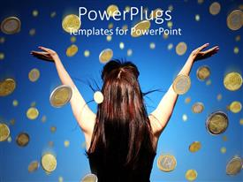 PowerPoint template displaying a lady with her back view raising her hands up to falling coins