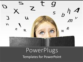 PowerPoint template displaying a lady with a black book to her face peaking