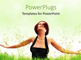PowerPlugs: PowerPoint template with a lady in a black dress with her hand held out