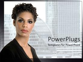 PowerPoint template displaying a lady with buildings in the background