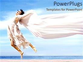 PowerPoint template displaying a lady dancer on the beach
