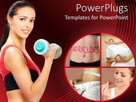 PowerPoint template displaying lady doing dumbbell exercises beside four tiles with slim ladies