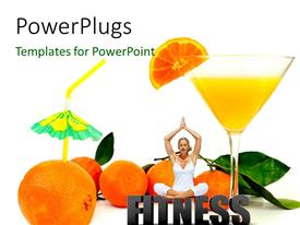 PowerPoint template displaying a lady doing yoga practise with oranges and a glass of juice
