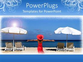 PowerPoint template displaying a lady enjoying on the beach