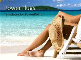 PowerPoint template displaying a lady with a hat sitting on a beach chore
