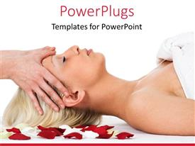 PowerPlugs: PowerPoint template with lady having a spa massage on red and white rose petals