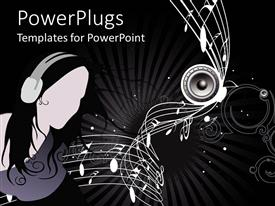 PowerPlugs: PowerPoint template with lady with headphones in dark background with music notes