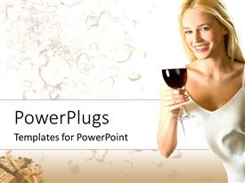 PowerPoint template displaying a lady holding a glass of wine with water bubbles in the background