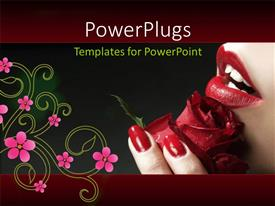 PowerPlugs: PowerPoint template with a lady holding a lovely red rose with a floral design