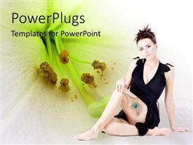PowerPlugs: PowerPoint template with lady holding a peacock feather on a white flower background
