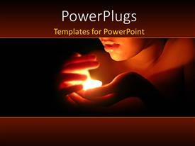 PowerPlugs: PowerPoint template with a lady holding and protecting a little flame
