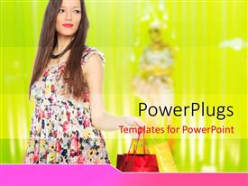 PowerPlugs: PowerPoint template with a lady holding a red hand bag and smiling