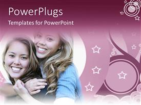 PowerPoint template displaying lady hugging female friend from behind with smile on her face