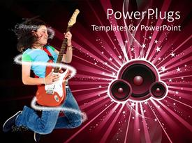 PowerPoint template displaying lady jumping happily and playing a guitar with speakers