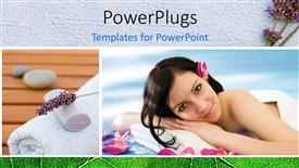 PowerPoint template displaying a lady lying down for massage