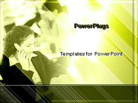 PowerPoint template displaying a lady making a phone call on a blurry green background