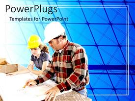 PowerPlugs: PowerPoint template with a lady and a man on helmets  observing some plans
