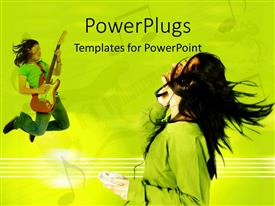 PowerPoint template displaying a lady playing aguitar and jumping and another listeniong to music