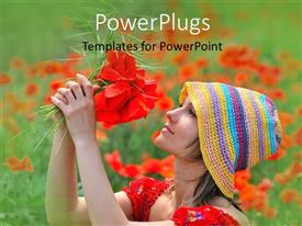PowerPlugs: PowerPoint template with a lady plucking a bunch of red colored flowers