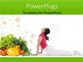 PowerPlugs: PowerPoint template with a lady practising yoga with lots of fruits and vegetables